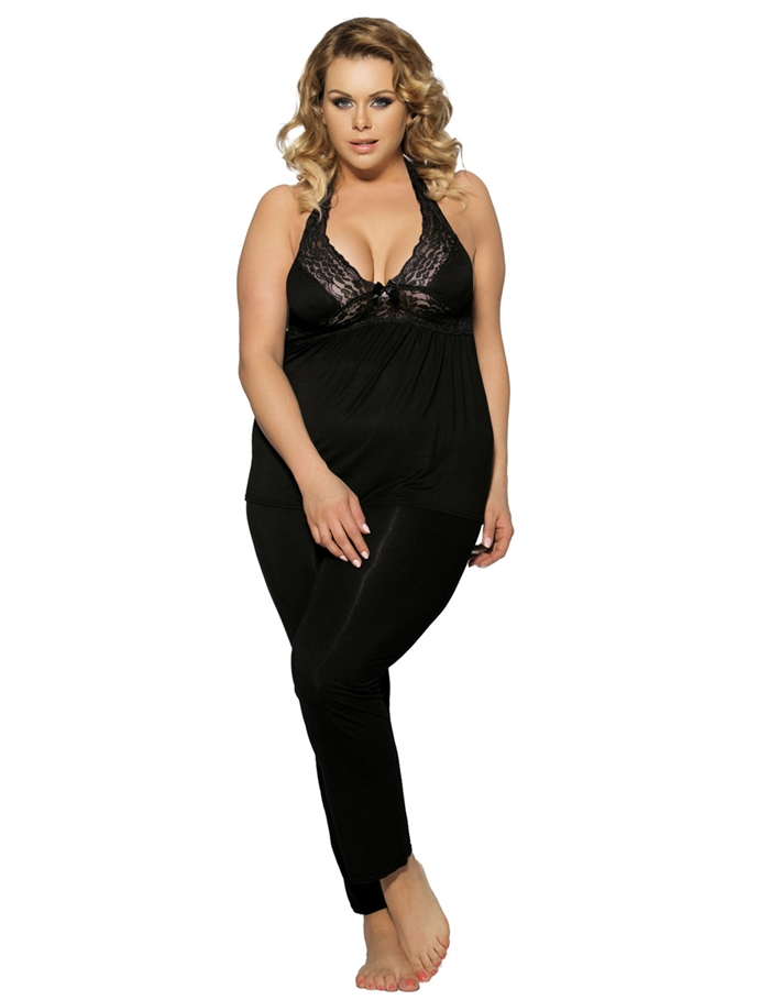 Image of   Komfortable blonde bryst pyjamas, Sort