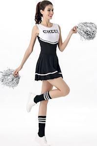 Sort cheerleader Kostume