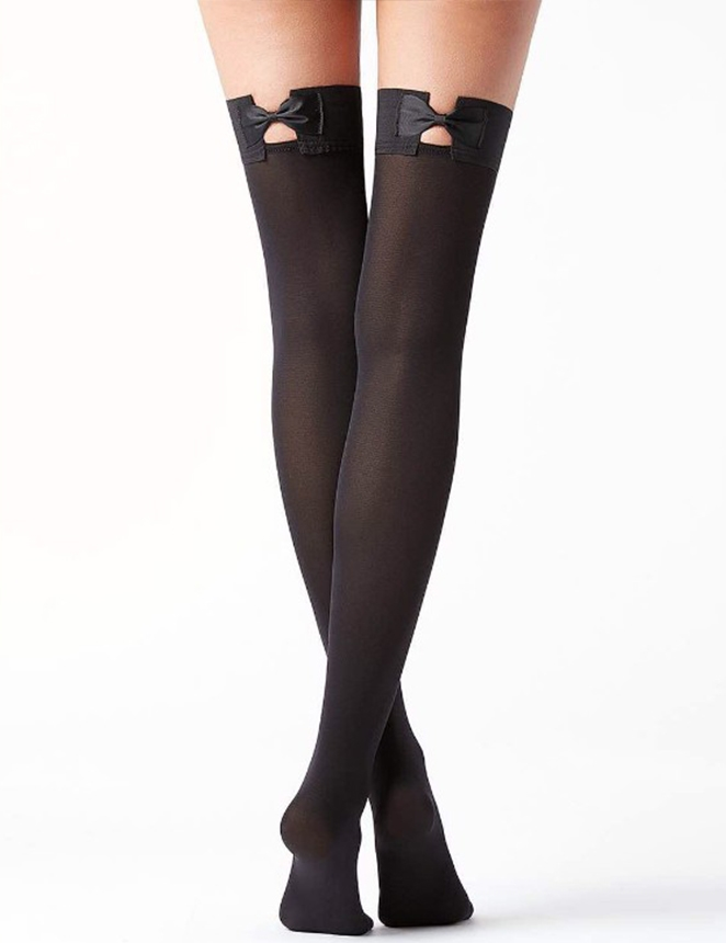 Image of   Black bow tie thigh high strømper