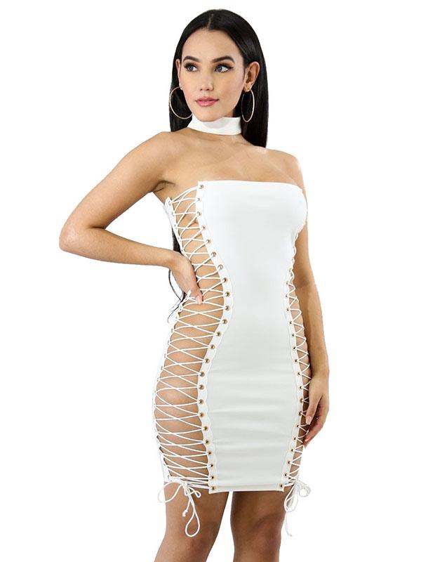 Billede af Sexy skulderløs hvid kjole