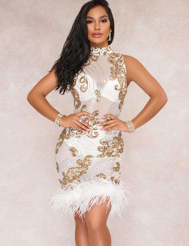 Billede af Hvid mesh maccda kjole