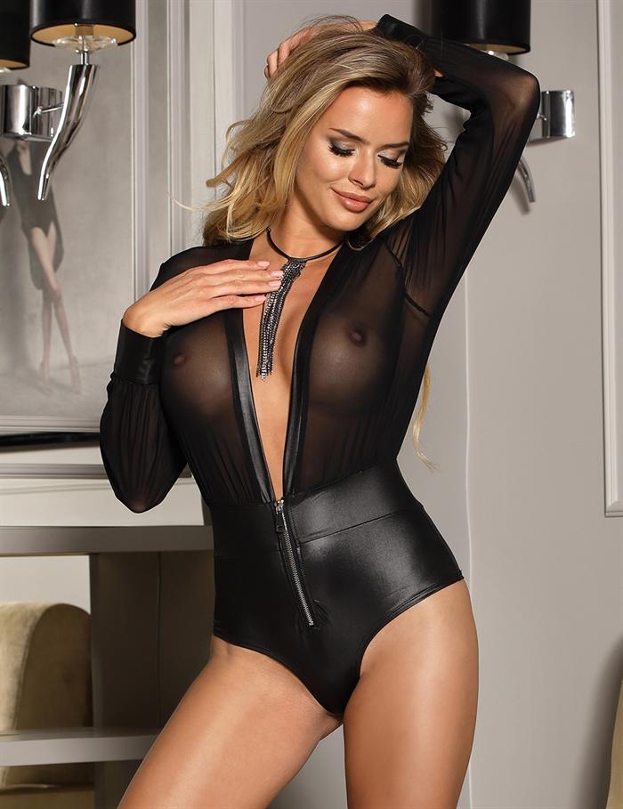 Image of   Zipper v-neck bodysuit