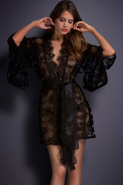Image of   Sort Belted lace Kimono