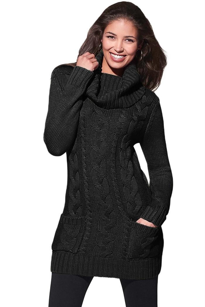 Billede af Cherries.dk, Sort Cowl Neck Sweater