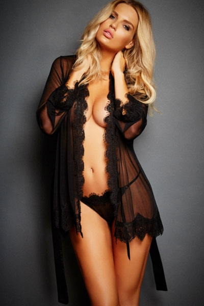 Sort lace trim robe