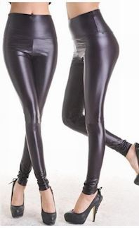 Sort Wetlook Leggings