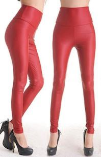 Rød Wetlook leggings
