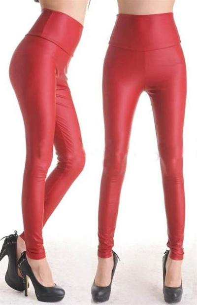 Image of   Rød Wetlook leggings