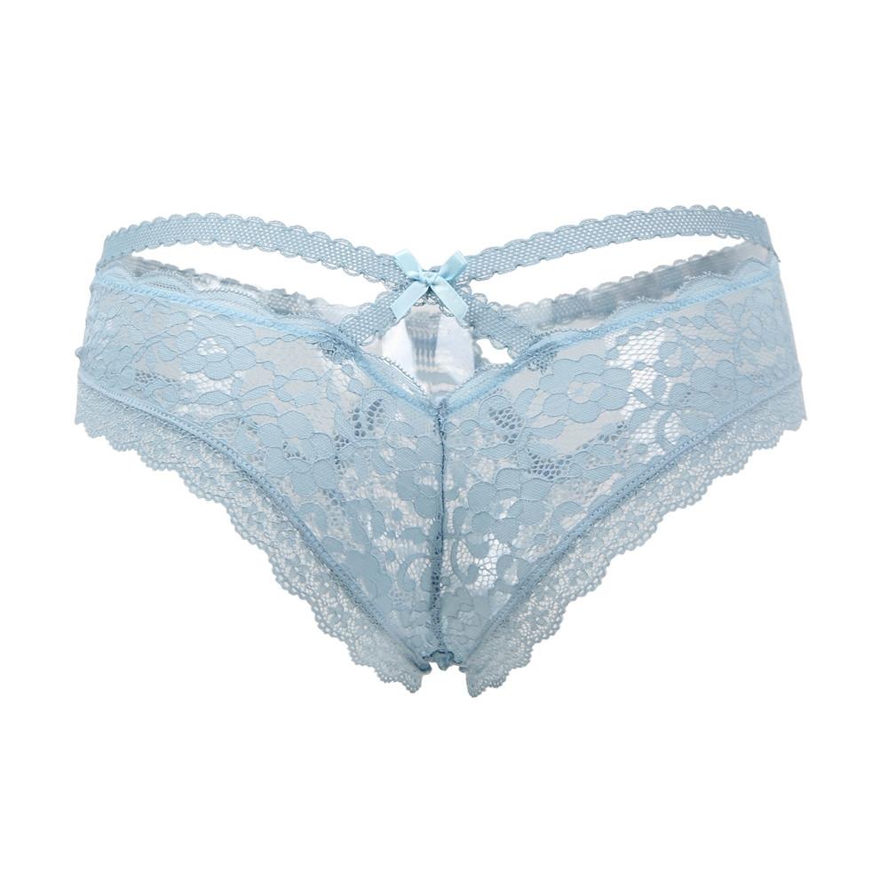 Køb Blå blonder strop trusser | Cherries.dk