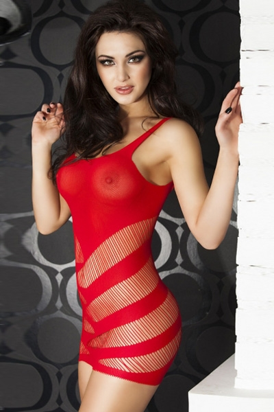 Image of   Sexy striped Chemise, rød