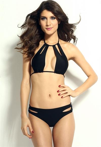 Image of   Halterneck bikini dobbeltstrop-effekt