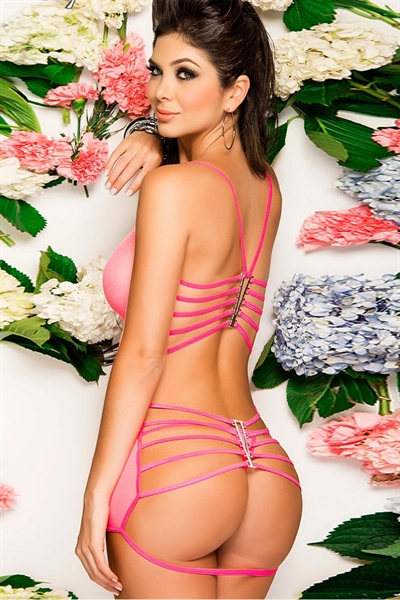 Image of   Pink Strappy back Chemise
