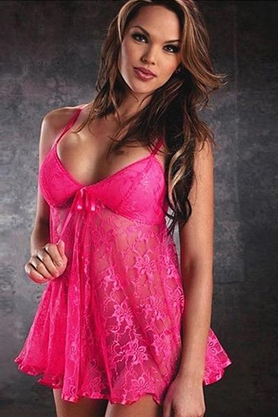 Image of   Pink babydoll med blonder