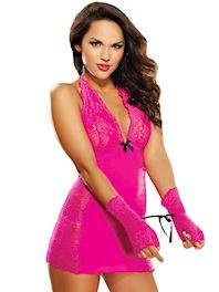 Sexy Pink Lace Chemise