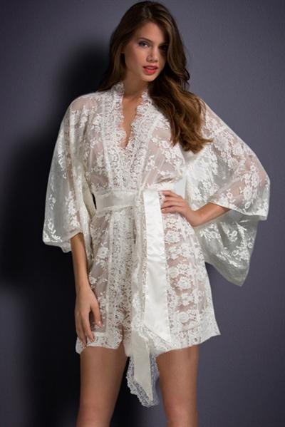 Image of   Hvid Belted lace Kimono