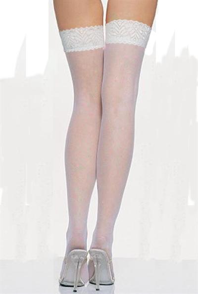 Hvide strømper med blondekant