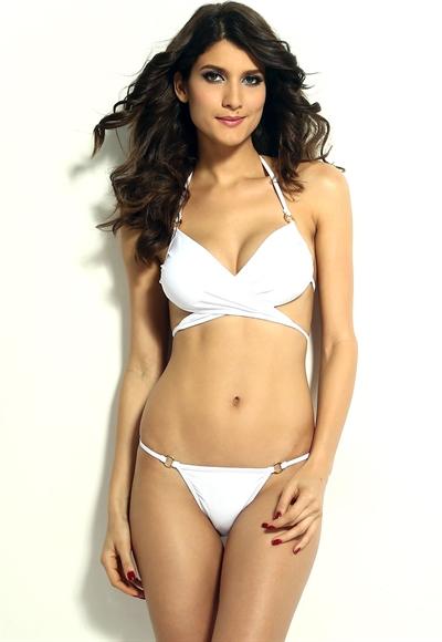 Image of   Bikini med spaghetti stropper - hvid