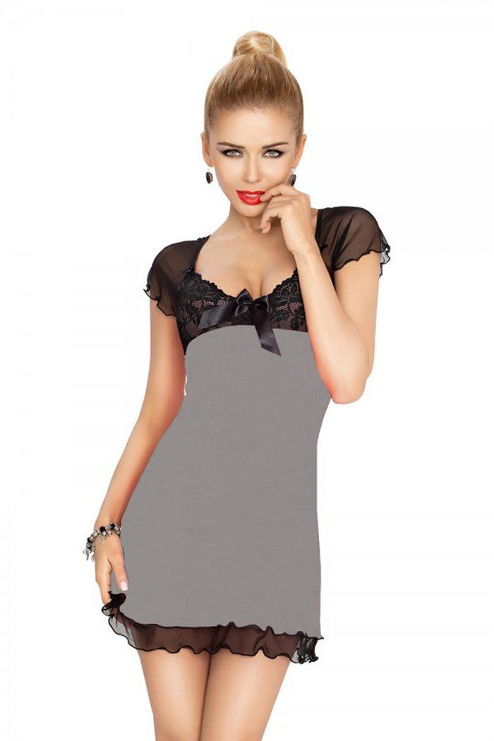 Irina chemise grå natkjole m. sort blonder & mesh
