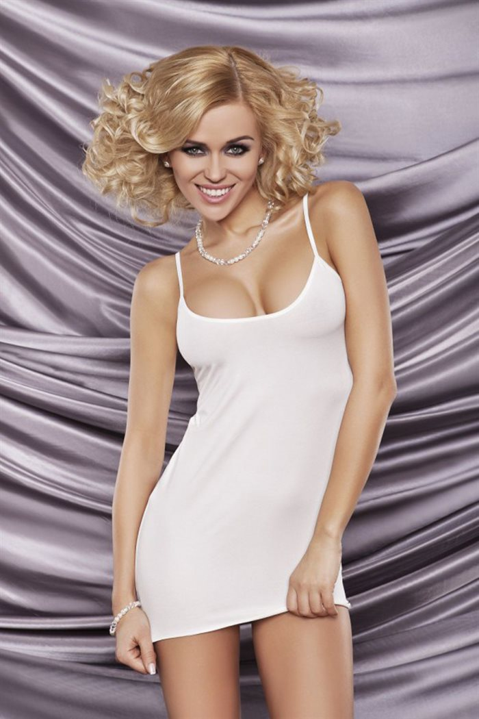 Simpel sexy Deni kort hvid natkjole