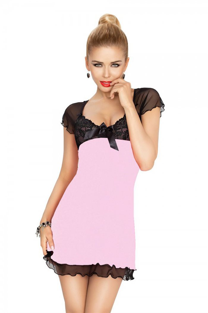 Irina chemise lilla natkjole m. sort blonder & mesh