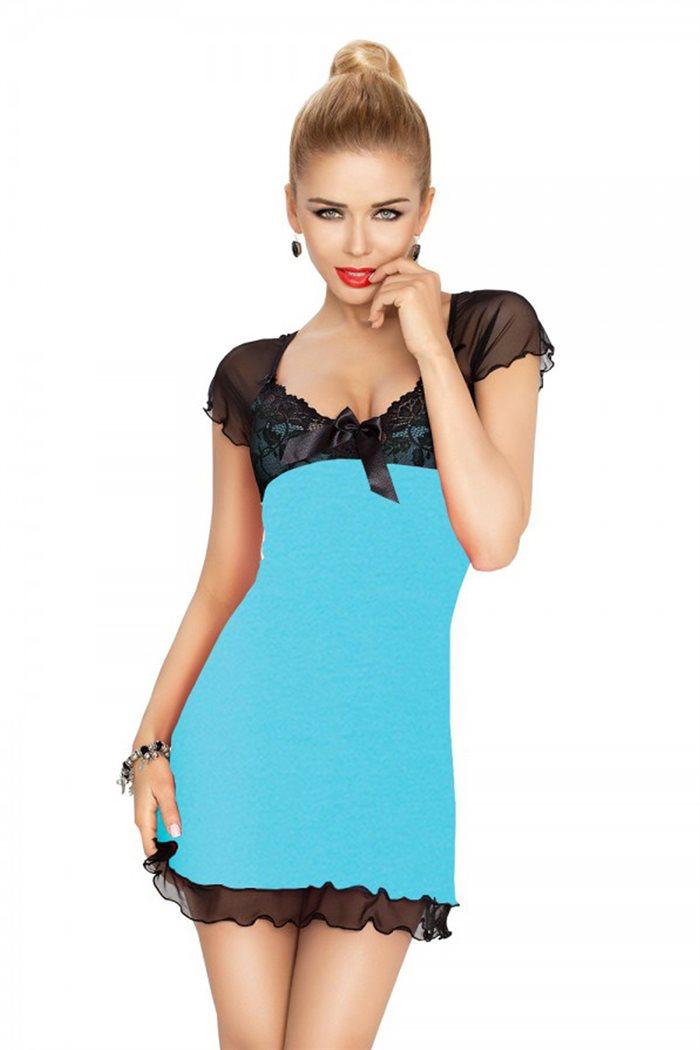 Irina chemise turkis natkjole m. sort blonder & mesh
