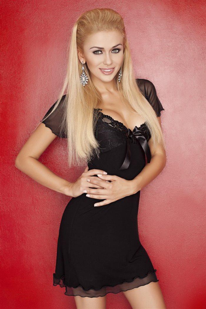 Sort unifarve Irina chemise natkjole