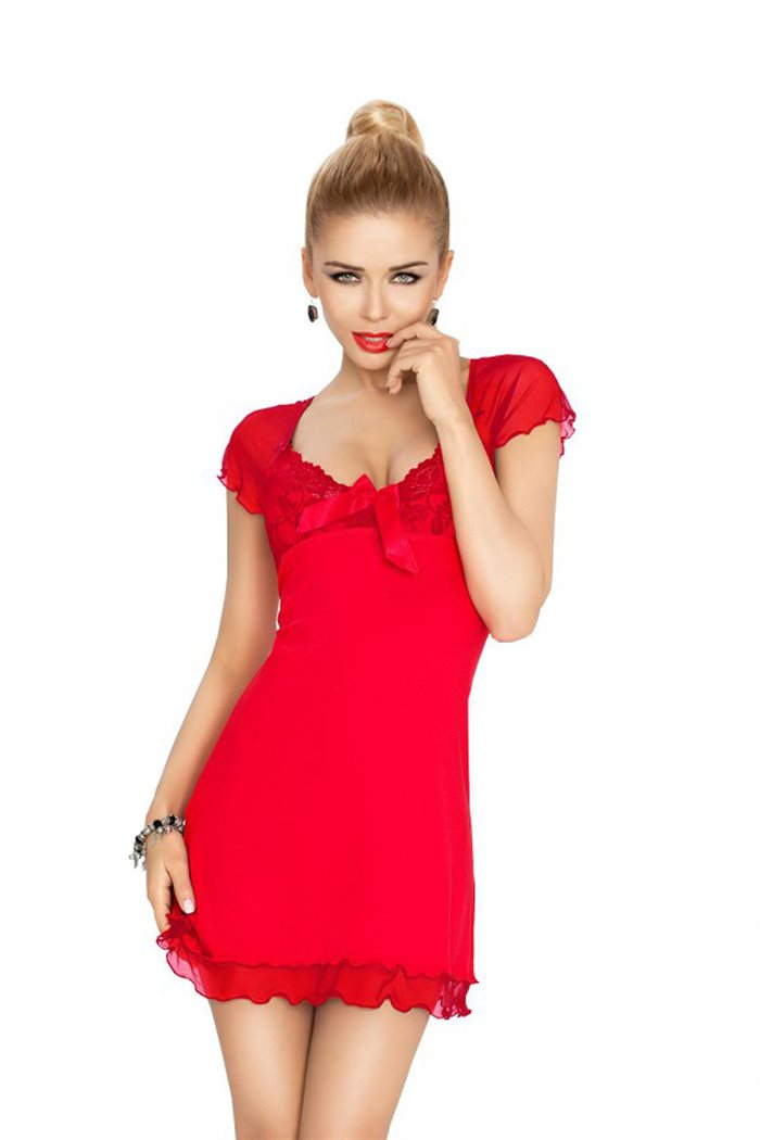 Rød unifarve Irina chemise natkjole