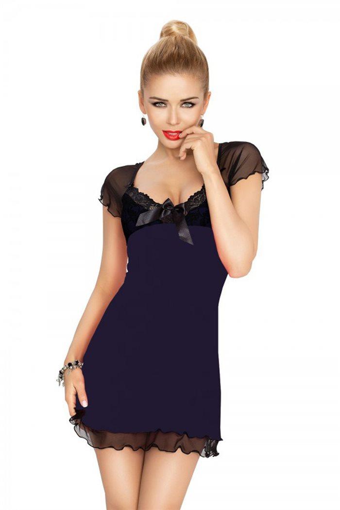 Irina chemise navyblå natkjole m. sort blonder & mesh
