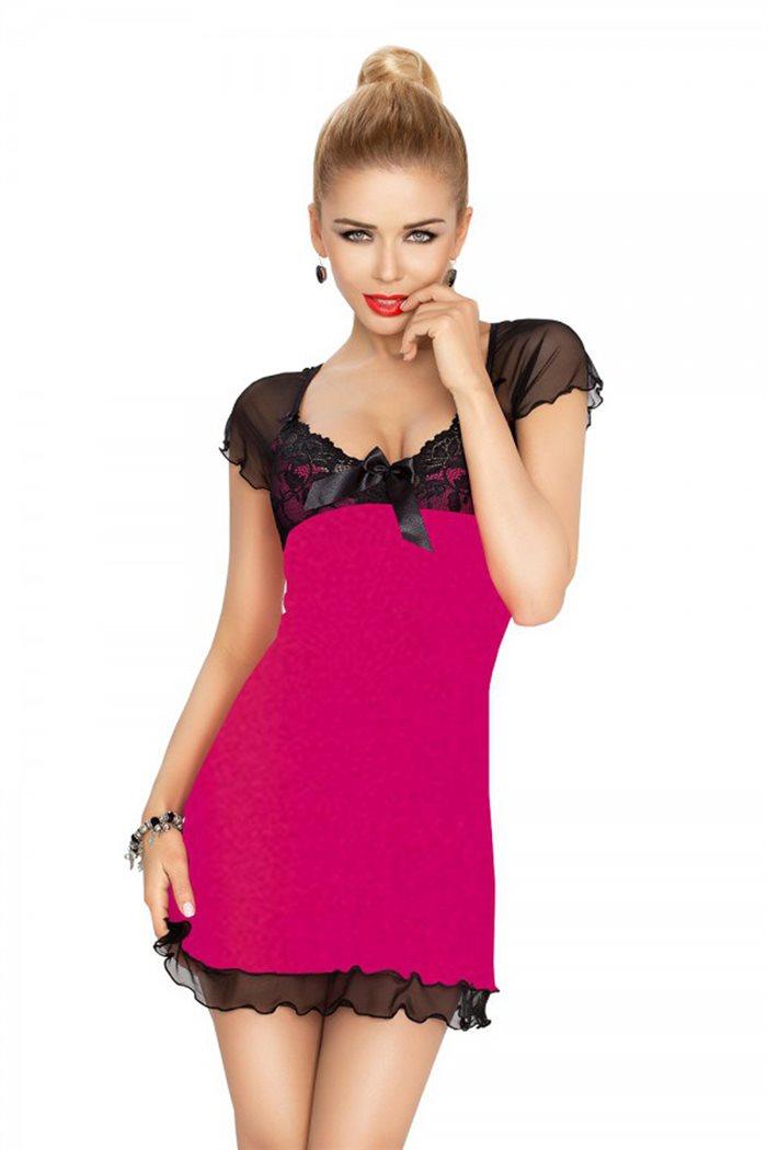 Irina chemise pink natkjole m. sort blonder & mesh