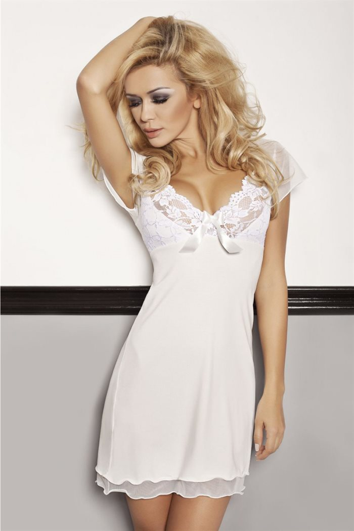 Hvid unifarve Irina chemise natkjole